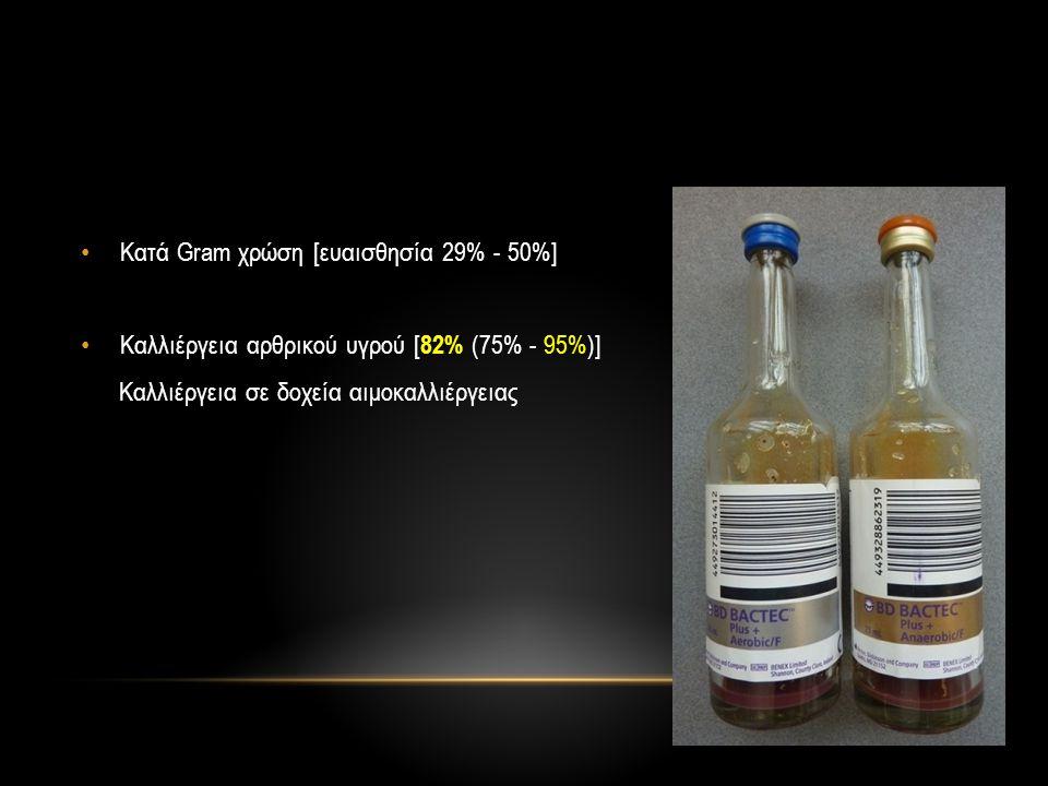 Κατά Gram χρώση [ευαισθησία 29% - 50%]